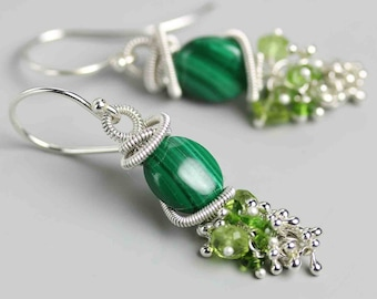 Sterling Silver Malachite Earrings with Peridot Clusters