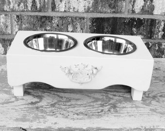 Cottage Bowl Holder, Feeding Stand, Bowl Holders, Vintage Accented Pet Feeders, Dog Bowl Holder, Elevated Feeder, White, custom