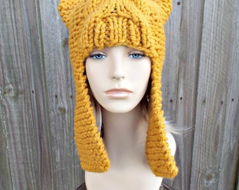 Yellow Mustard Womens Hat - Dragon Slayer Mustard Ear Flap Hat Mustard Knit Hat - Mustard Hat Mustard Beanie Mustard Winter Hat