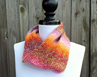 Double Knit Circle Scarf Womens Scarf - Pink Orange Red Scarf - Cowl Scarf Spring Cowl Womens Accessories Spring Fashion - READY TO SHIP