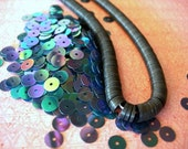 Vintage Sequins Strand BLUE IRIS AB couture lot Full Strand 6mm flat