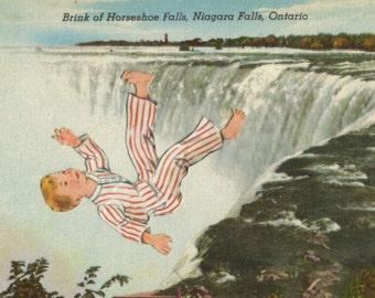 Bad Dream Art, Falling Water Artwork, Nightmare Art, Daydream, Retro Canada Postcard, Ontario, Original Collage