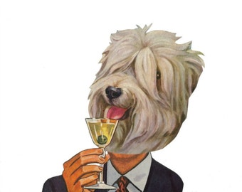 Dog Decor for Kitchen Dressed Animal In Suit Funny Martini Happy Hour Bar Decor Original Collage Humorous Dog Art
