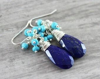 Turquoise Blue Earrings, Lapis Lazuli Earrings, Turquoise Gemstone Earrings, Light Sky Blue, Dark Blue Earrings, Sterling Silver Earrings