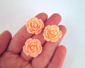 10 Peach 20mm Rose Cabochons, Peach Flower Cabochons