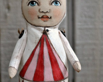 Circus Tent Sprout Original Hand Painted Folk Art Cloth Doll Sculpture Gnome Elf OOAK