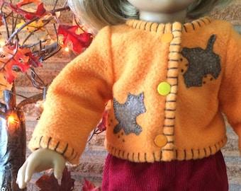 18 Inch Doll clothes - Orange Fall Leaves Fleece Jacket - Autumn