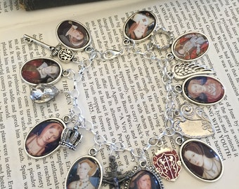 King Henry the 8th and Wives Charm Bracelet, King Henry the 8th, King Henry Bracelet, Charm Bracelet, Silver Charm Bracelet, Gift for Her