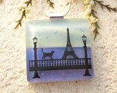 Parisienne Cat, Cat Jewelry, Fused Glass Jewelry, Cat Pendant, Black Cat, Traveling Cat, Dichroic Jewelry, Necklace Included, 011716p101