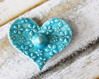 Dainty and Sweet Heart Shaped Ring Holder, Ring Dish, Ring Bowl, Turquoise, Sea Isle Blue Ready to ship