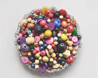 Vintage Big Wooden Bead Lot - 1 pound of dyed painted and natural wood beads