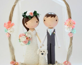 custom beach wedding cake topper - with arch