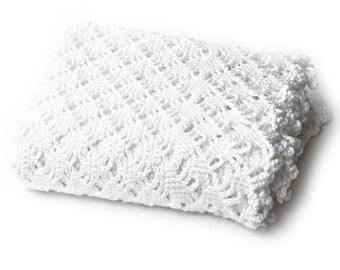 White Baby Blanket. Openwork Crochet Diamond Pattern. Handmade Keepsake Afghan. Handmade Crib Blanket. Christening Baptism Gift. Baby Wrap