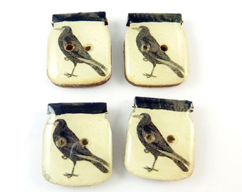 """4 Primitive Crow Wooden Sewing  Buttons.  Crow in Canning Jar Wooden Novelty Craft Buttons. 7/8"""" or 28 mm Tall."""