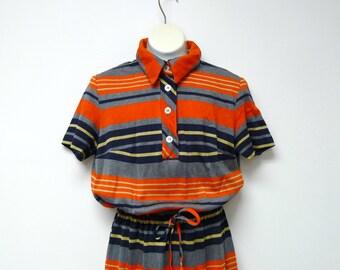 JEUNE LEIQUE PETITES . stripes . shirt dress . fits an extra small