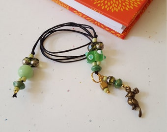 Song Bird Beaded Bookmark/ Greens And Gold/ Glass Beaded Book Thong With Metal Charm/ Birds/ Readers Gift/ Journal Marker/ Book Lover