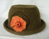 Felted Wool Hat Green Orange Flower
