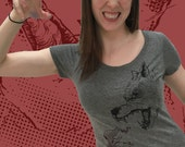 Womens Scoop neck Tee - Red Riding Hood VS the Big Bad Wolf Tshirt - Fairy Tale Next Level shirt