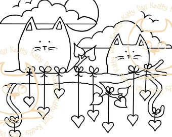 Digi Stamp Instant Download. Hanging Around For You - Knitty Kitty Digis No. 22