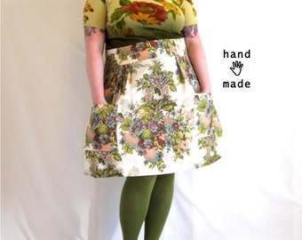 Flatterer Skirt -- blue floral bird print -- high waisted, pockets -- plus size, 22W, 2X, xxl -- handmade in vintage fabric -- 43W-62H