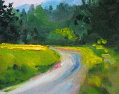 Rural Landscape Oil Painting, Original Small 5x7 Canvas, Country Road, Field, Trees, Green, Yellow Forest, Mountains, Outdoor Scene