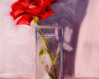 Red Rose, Still Life Oil Painting, Original Flower Painting, Floral Art, 8x10 on Canvas, Wall Decor, Glass Vase, Small Format