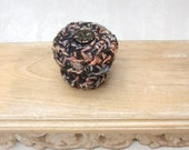 Silk Tapestry Basket with Glass Flower Button Embellished Lid - Copper Black Jewelry Keepsake Box - Unique Handmade Home Decor Gift STB002