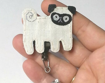 Pug Badge Reel, Pug Badge Card Holder,Pug, Pug Badge Reel, Pug Dog,ID Holder,Dog,Nursing Name Badge Holder,Badge Reel, Retractable