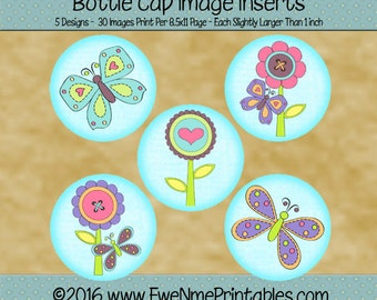 Flower Butterfly 1 inch Round Bottle Cap Image Insert Printables - 1 in circle bottlecap images - PDF and/or JPG File - 4x6 jpg