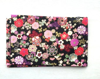 Japanese Fabric - Flower Fabric - Flowers In Black 1 Yard (F4-P17) 100% Cotton  110 x 100 cm -