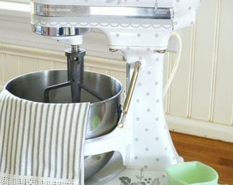 Swiss Dots and roses Grey Kitchenaid vinyl Decals