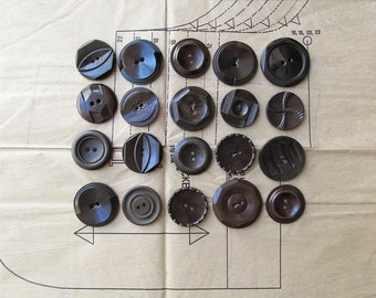 Vintage Buttons - Large Brown Plastic