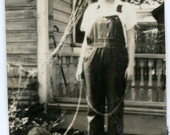 vintage photo Young Lady Overalls Holds Baby Bear Cub on Rope