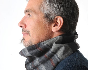 Grey cowl scarf, Mens accessories, Grey and black patchwork Mens Cowl, Mens gift, Cowl Scarf - Grey men scarf