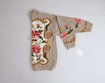 oversized floral sweater | turtleneck sweater | chunky sweater
