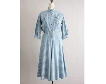 striped chambray dress / collared dress / striped dress