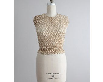 champagne pucker top / stretch blouse / popcorn blouse