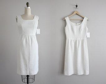 white linen dress / 60s dress / white wiggle dress