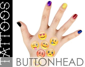 Emoji Halloween Costume Accessories - Emoji Smiley Face Temporary Tattoos