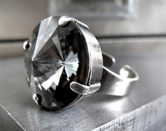 Large Black Night Crystal Ring, Swarovski Crystal Dark Grey Gray Rivoli Ring, Modern Silver Ring, Gothic Goth Jewelry, Adjustable Ring