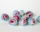 10 Mini Ranunculus in Blue and Pink - silk artificial flower, millinery flower - ITEM 0864