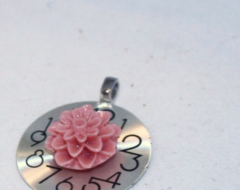 Silver Watch Face Pendant, Salmon Pink Resin Mum Flower