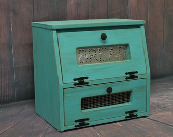 Countertop Vegetable Bin : Wood Bread Box Potato Vegetable Bin wooden Punched Tin Antiqued Rustic ...