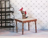Miniature marble-top side table