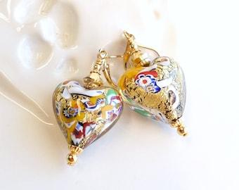 Klimt Inspired Venetian Gold Foil Glass Heart Earrings