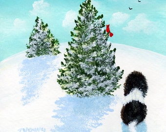 Shih Tzu Dog Poodle folk art PRINT by Todd Young painting NEW SNOW