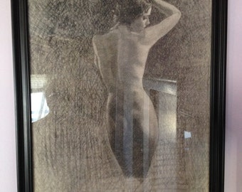 DIXIE RAY 1939 HIGLEY Nude Pinup Drawing of Famous Burlesque-model, Art Deco Vintage Illustration Pinup Original  - Rare 1 of a Kind Pin-Up