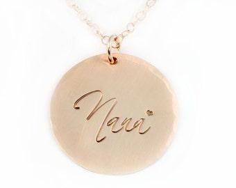 Gold Nana Necklace - Handstamped 14k Gold Filled Necklace – Grandmother's Necklace