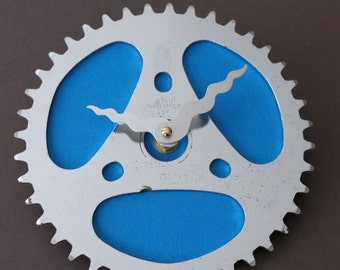 Bicycle Gear Clock - Japanese Blue | Bike Clock | Wall Clock | Recycled Bike Parts Clock