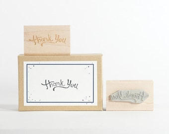Thank You Handwritten Rubber Stamp Handmade